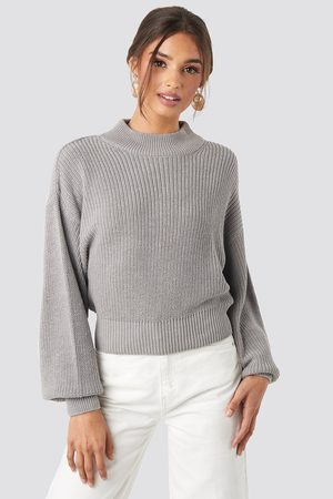 NA-KD Volume Sleeve High Neck Knitted Sweater - Grey