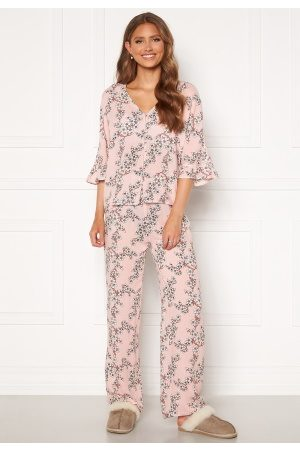 Trendyol Flower Printed Pyjama Set Pudra/Powder Pink 34