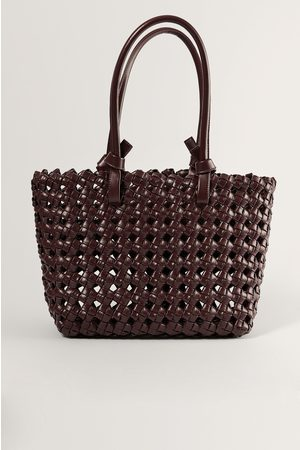 NA-KD Naiset Ostoskassit - Oversize Big Braid Shopper - Brown