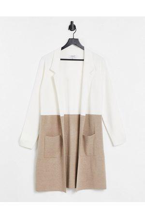 Morgan Contrast wool overcoat in cream multi