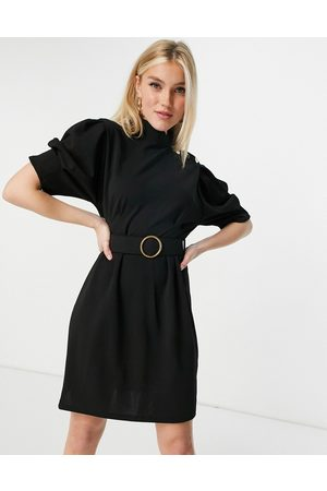 Lipsy London Belted pencil dress with button shoulder detail in black