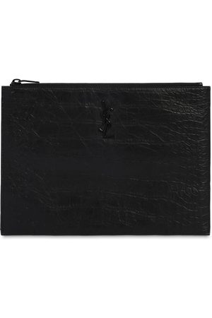 Saint Laurent Logo Embossed Leather Tablet Holder