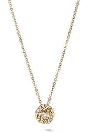 David Yurman 18kt yellow petite Infinity diamond pendant necklace