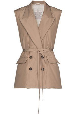 Brunello Cucinelli Naiset Liivit - Double-breasted belted waistcoat