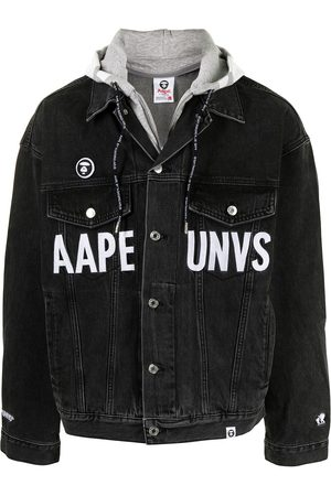 AAPE BY A BATHING APE Logo-print hooded denim jacket