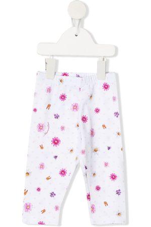 MONNALISA Vauvat Leggingsit - Floral-print cotton trousers