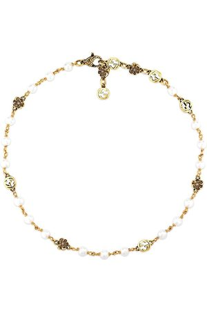 Gucci Interlocking G flower pearl small necklace
