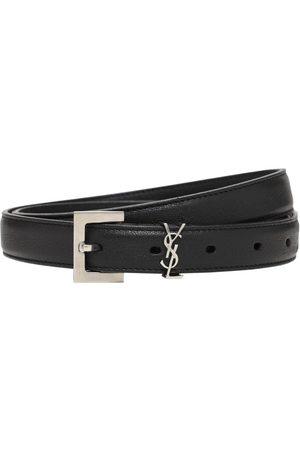 Saint Laurent Miehet Vyöt - 2cm Monogram Smooth Leather Belt