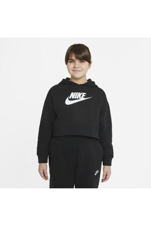 Nike Sportswear Club Older Kids' (Girls') French Terry Cropped Hoodie (Extended Size) - Black