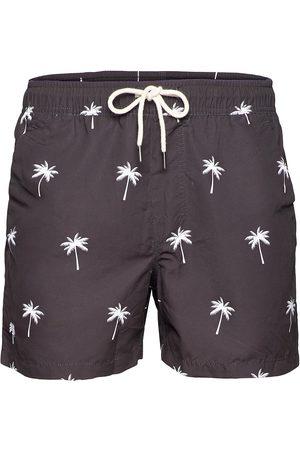 Oas Miehet Uimashortsit - Black Palm Swim Shorts Uimashortsit Ruskea
