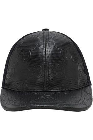 Gucci Naiset Hatut - Gg Embossed Leather & Mesh Cap
