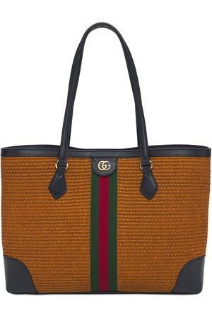 Gucci Md Ophidia Straw & Leather Tote Bag