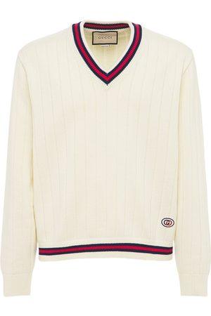 Gucci Miehet Neuleet - Cotton Knit V-neck Sweater W/ Web
