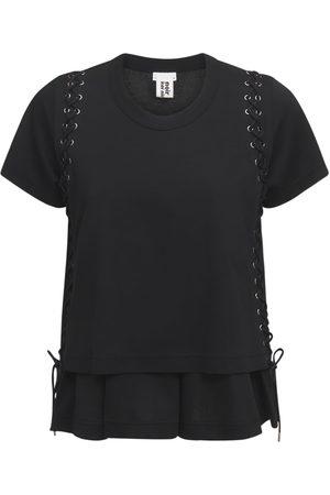 NOIR KEI NINOMIYA Cotton Jersey T-shirt W/ Lace-up Details