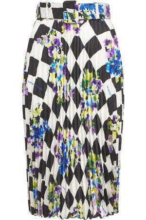 OFF-WHITE Naiset Printtihameet - Check Printed Crepe Pleated Midi Skirt