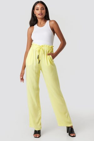 NA-KD Paperbag Wide Leg Trousers - Yellow