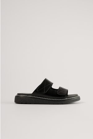 NA-KD Naiset Tohvelit - Contrast Stitch Slippers - Black
