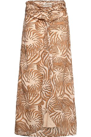Scotch&Soda Naiset Printtihameet - Organic Cotton Printed Skirt With Knot Detail Polvipituinen Hame Ruskea