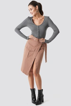 NA-KD Overlapped Belted Midi Skirt - Brown