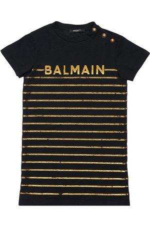 Balmain Tytöt Rennot Mekot - Stripes Cotton Jersey Dress