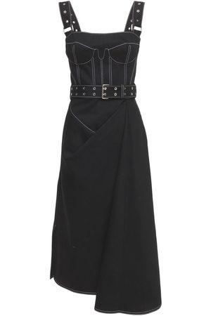 Alexander McQueen Belted Cotton Denim Bustier Dress