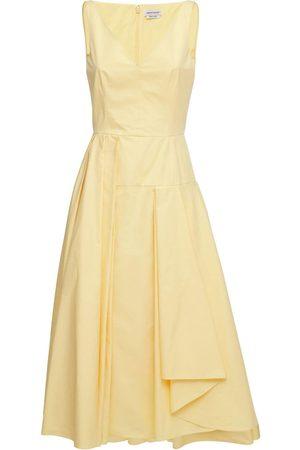 Alexander McQueen Naiset Epäsymmetriset Mekot - Asymmetrical Cotton Poplin Midi Dress