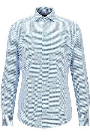 HUGO BOSS Slim-fit shirt in patterned cotton jersey