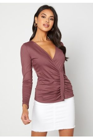 Chiara Forthi Elena wrap top Dark old rose M