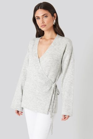 NA-KD Overlap Wide Sleeve Knitted Sweater - Grey