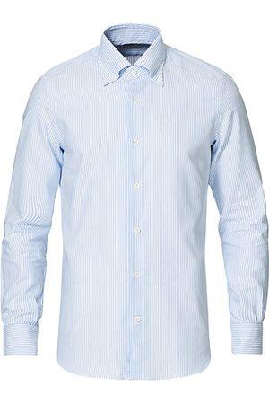 MAZZARELLI Soft Oxford Button Down Shirt Blue Stripe