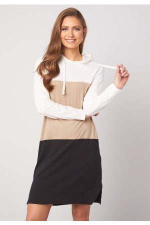 Happy Holly Camila tricot hood Beige / Black / Offwhite 44/46