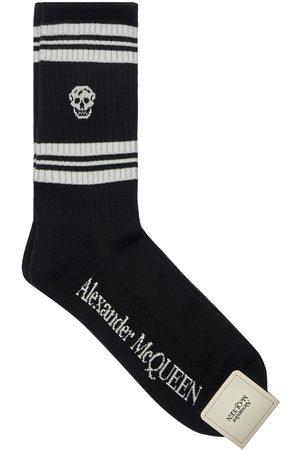 Alexander McQueen Stripe & Skull Cotton Blend Socks