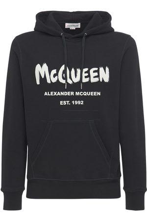 Alexander McQueen Miehet Collegepaidat - Graffiti Print Cotton Sweatshirt Hoodie