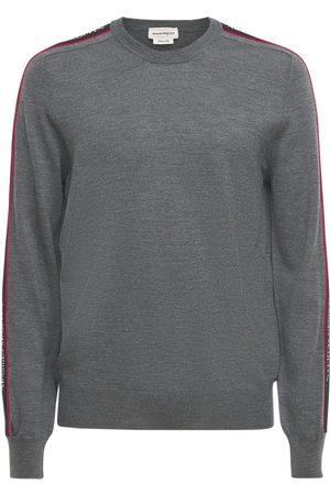 Alexander McQueen Miehet Collegepaidat - Logo Tape Crewneck Wool Sweater