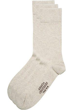 Amanda Christensen Miehet Sukat - 3-Pack True Cotton Socks Sand Melange