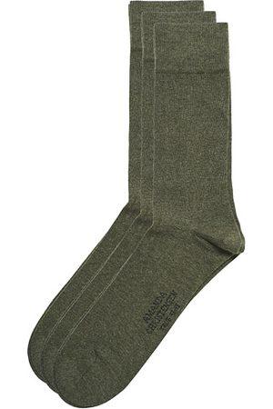 Amanda Christensen 3-Pack True Cotton Socks Olive Melange