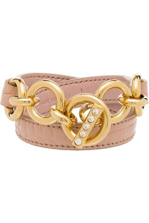 Miu Miu Naiset Rannekorut - Chain-detail leather bracelet