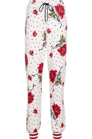 RODARTE Floral cotton-blend sweatpants