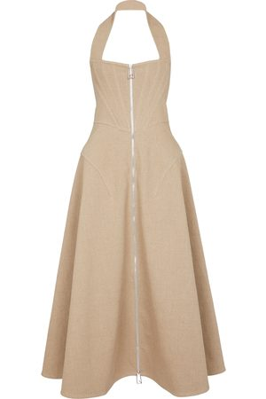 Bottega Veneta Halterneck stretch-linen maxi dress