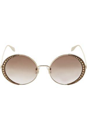 Alexander McQueen Naiset Nappikorvakorut - Round Metal Sunglasses W/ Studs