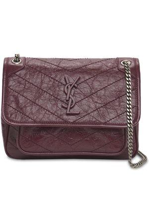Saint Laurent Niki Monogram Crinkled Leather Bag
