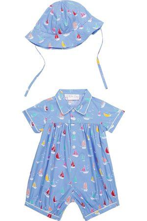 Rachel Riley Setit - Baby printed cotton romper and hat set