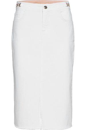 Mos Mosh Naiset Midihameet - Selma White Skirt Polvipituinen Hame
