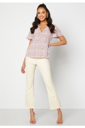 Object Belle MW Coated Flared Pants Sandshell XS