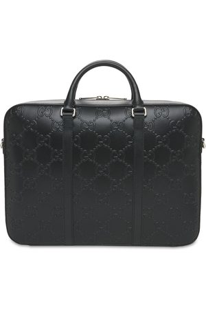 Gucci Gg Embossed Leather Briefcase