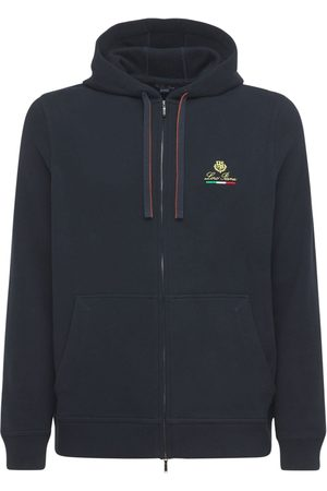 Loro Piana Logo Embroidery Horsey Cotton Zip Hoodie