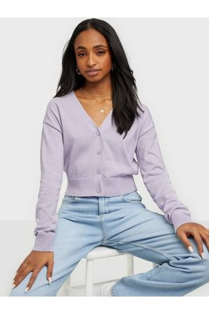 NLY Trend Naiset Neuletakit - Cropped Cardigan Knit Violetti