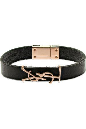 Saint Laurent Ysl Opyum Single Wrap Leather Bracelet