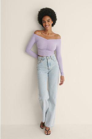 NA-KD Naiset Crop - Rypytetty Off Shoulder -Toppi, Kierrätettyä Materiaalia - Purple