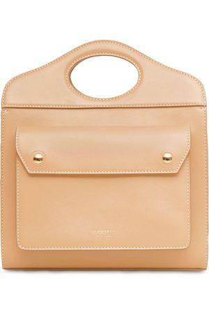 Burberry Mini Pocket Leather Tote Bag